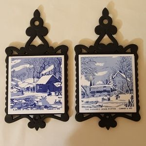 Currier & Ives Trivets Set of Two
